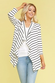 It is Well Waterfall Quarter Sleeve Striped Cardigan Sizes 10-20