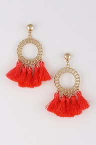 Ring Around The Rosey Circle Earring With Little Tassels In Neon Pink