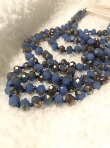 Point of Perfection Beaded Necklace in Rusted Blue