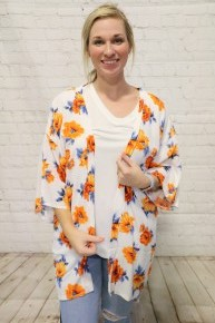 Hold My Hand Floral Kimono With Orange & Blue Flowers- One Size *Final Sale*
