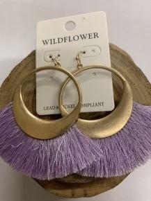Fan Tassel Earrings - Purple