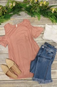 My Forever Favorite Synched Cold Shoulder Top In Multiple Colors- Sizes 4-12