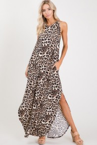 Tonights The Night Leopard Halter Neck Dress Sizes 4-10