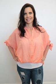 Like A Love Song Button Up Blouse in Coral - Sizes 4-10