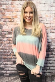 Waiting for You Tie Dye Ombre Striped V-Neck - Sizes 4-10