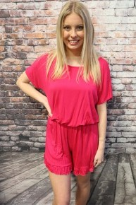 Dance With Me Short Sleeve Romper With Ruffle Hem  In Multiple Colors- Sizes 4-20