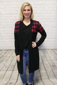 Tricks On You Cardigan With Plaid Accent In Black - Sizes 4-12