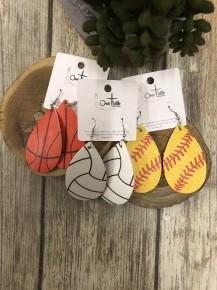 It's Game Time Leather Teardrop Earrings In Multiple Sports