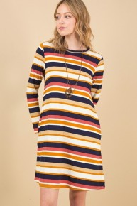 Filled With Flair Long Sleeve Striped Multicolor Dress - Sizes 12-20