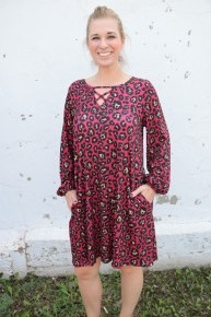 My Imagination Leopard Long Sleeve Dress With Criss Cross In Pink - Sizes 4-20