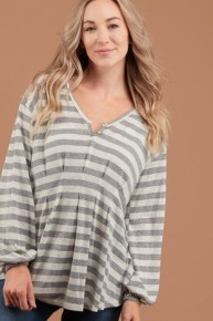 Come Up Here Striped Top With Puff Sleeve In Gray - Sizes 4-10
