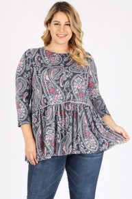 Sucker For You Paisley Print Babydoll Top In Navy - Sizes 12-20