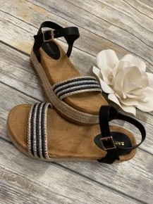 Paradise Awaits You Espadrille Sandal With Beaded Strap In Black