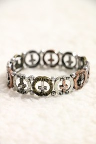 Faith Circle Cross Stretch Bracelet In Mixed Metals
