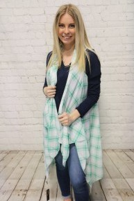Pretty in Plaid Kimono Vest in Multiple Colors - One Size Fits Most