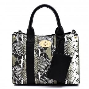 Clutch It to Ya' Stylish Handbag in Snake Skin