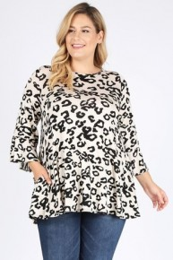 Roaring Like A Lion Leopard Tunic With Ruffle Sleeve In Oatmeal - Sizes 12-20