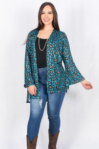 Best Friends Now Aqua Leopard Cardigan Sizes 4-20