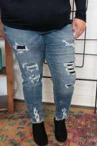 The Cameren High Rise Distressed Skinny Jean with Blue & White Patches Sizes 12-20