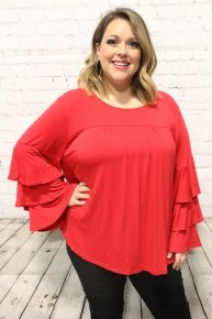 Rise Above & Win Long Sleeve Top With Bell Sleeves In Red - Sizes 12-20