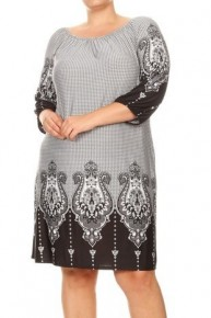 Powerful Name Black and White Print Dress with Quarter Sleeves Sizes 10-20