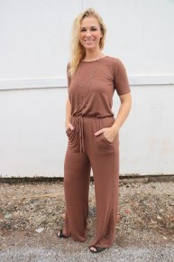 One Step Closer Jumpsuit With Tie In Brown- Sizes 4-12