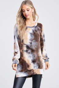 Experiment With Life Tie-Dye Long Sleeve Sweater In Brown - Sizes 4-12
