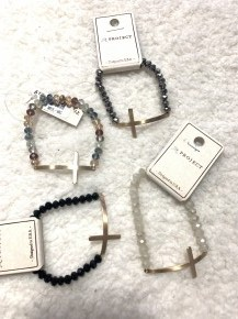 Always Yours Crystal Bead Stretch Bracelet With Gold Cross In Multiple Colors
