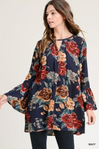 Good Dreams Floral Top With Crochet Arm Detail In Multiple Colors- Sizes 4-10