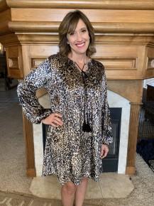 In The Air Velvet Babydoll Leopard Dress - Sizes 4-20