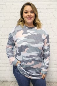 Pair Me Up Camo Long Sleeve Top In Powder Blue - Sizes 6-18