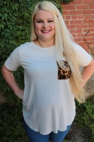 All To Myself Tee with Leopard Pocket in White - Sizes 12-20