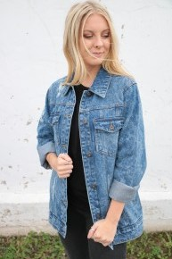 You Should Go Distressed Washed Denim Jacket - Sizes 4-12