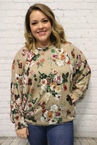 Really Obsessing Floral Bat Wing Top In Taupe - Sizes 4-20