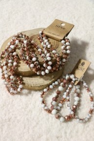 Rose Gold Snow Point Of Perfection Bundle & 3 Strand Beaded Bracelet