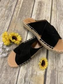 Black Espadrille Criss-Cross Sandals