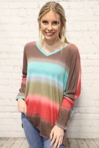 Time For The Weekend Tie Dye Dolman In Coral & Mint- Sizes 4-10