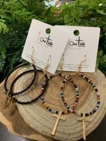 Dress It Up Beaded Hoop Earrings With Cross - Multiple Colors