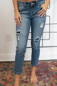 The Fran Distressed Medium Denim Jeans- Sizes 1-15