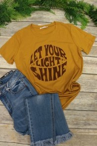 Let Your Light Shine Mustard Graphic Tee- Sizes 4-10