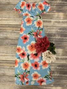 Floral Off-The-Shoulder Maxi Dress in Blue - Sizes 4-12