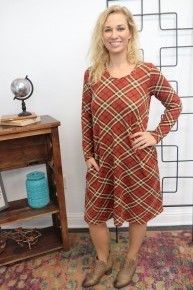 All This Time Red Plaid Dress With Pockets- Sizes 6-20