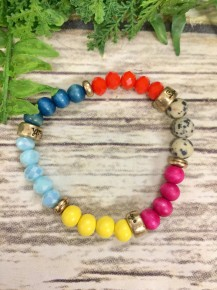 Faith, Love, Hope Beaded Stretch Bracelet In Multi Color