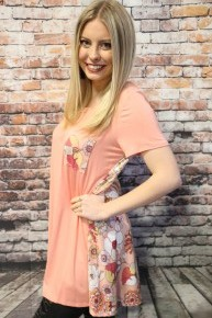 All My Life Pink Top With Floral Pocket & Back- Sizes 4-20