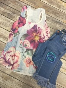 Blooming Today Floral Tank Top In Ivory - Sizes 4-10