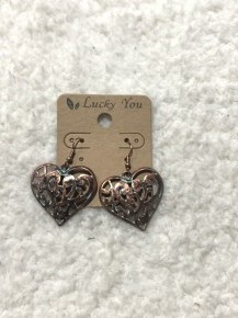 Be Still My Heart Copper/Patina Filigree Heart Earrings