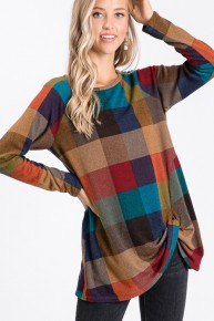 Memorable Moments Multi Colored Checkered Top with Knotted Hem-Sizes 4-20