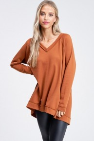 Well Here We Go Again Solid V-Neck Long Sleeve Knit Top - Multiple Colors - Sizes 4-12