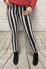 The Truly Striped Pants In Black & White - Sizes 4-10