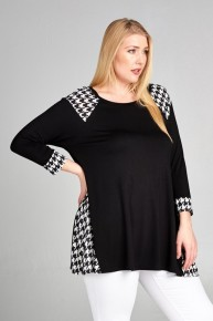 Spitting Image Houndstooth Contrast Tunic - Multiple Colors - Sizes 12-20